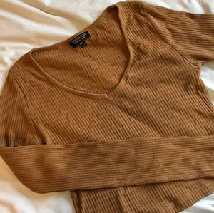 Topshop | Mustard | Long Sleeve Crop Top | Size 6